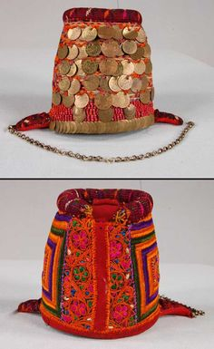 Woman's headdress ('shatweh'/money hat). From Palestine, ca. 1930s/40s. Worn only by married women and widows in the Jerusalem - Bethlehem area. Wool, silk, metal and glass. (©British Museum).