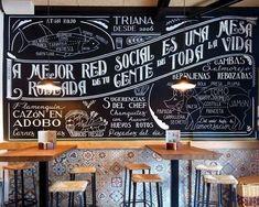 Chalkboard wall for Triana Cafe Interior Design, Cafe Design, Chalkboard Designs, Chalkboard Walls, Café Bar, Coffee Shop Design, Cafe Shop, Restaurant Design, Decoration