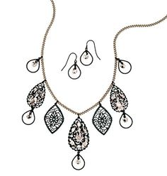 """Filigree Collar Necklace and Earring Gift Set  Burnished brass and coated metal with faux-stones. Necklace, 16 1/2"""" with 3 1/2"""" extender. Pierced earrings, 1 1/4"""" L.     GOOD TO KNOW   All of Avon's jewelry is nickel-free for those with sensitive skin & allergies to nickel."""