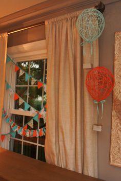 make hot air balloons out of yard and glue
