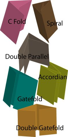 Some of the more common brochure folds. All of these use 2 or more parallel folds. Brochure Folds, Brochure Design, Brochure Layout, Book Folding, Paper Folding, Fancy Fold Cards, Folded Cards, Card Making Inspiration, Making Ideas