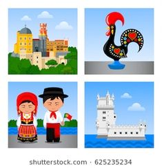 Attractions in Portugal. Set of vector flat illustrations.