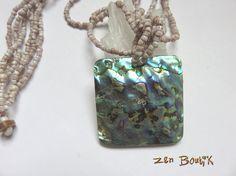 Collier Abalone Nacre Coquillage Haliotis Ormeau, Bijoux Zen Boutik, Collier Zen : Collier par zenboutik