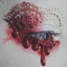 "WEBSTA @ drac_makens - ""Beware of Crimson Peak"" : some eye art I did the other night inspired by the beautiful film Crimson Peak (Edith's bloody/red clay stained night gown was the main inspo). I'll upload more photos of it showing more angles tomorrow, but I wanted to upload this one because I thought it was pretty ❤ Products used: @thekatvond / @katvondbeauty White Out concealer as a base and Bloodmilk eyeshadow, @sugarpill eyeshadows in the shades Tako and Love , @ritueldefille Envious…"