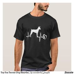 Toy Fox Terrier Dog Heartbeat Dog T Shirt Men Wome English Foxhound, American Foxhound, English Springer, English Setter, Toy Fox Terriers, Wire Fox Terrier, Dandie Dinmont Terrier, Chiefs Shirts, Black Russian Terrier