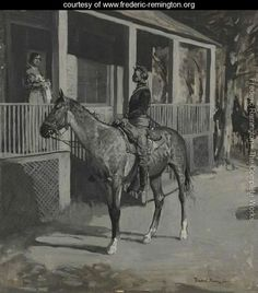 Military and military wives were people along the Santa Fe Trail.  by Frederic Remington - www.frederic-remington.org