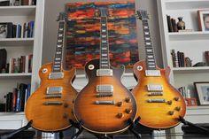 L to R: 2008 Gibson Les Paul VOS R9, 1993 Gibson Les Paul Pre-historic R0, 2011 Gibson Les Paul VOS R8.