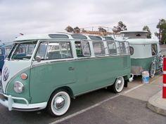 Classic Samba van, with a matching Eriba camping trailer behind Eriba Puck, Volkswagen Bus Camper, T1 Samba, Kombi Home, Transporter, Car Girls, Campervan, Motor Car, Aesthetic Pictures