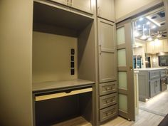 Making the Mid Den into an office is one of the many customization options available. Close the sliding door and you have a private space to work. Fifth Wheel Living, Luxury Fifth Wheel, Luxury Rv, Rv Living, Stacked Washer Dryer, Sliding Doors, Den, Home Appliances, Space
