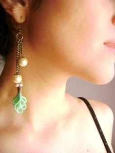 Captivates me  Aqua marine silk  antique pearls by DivinaLocura, $26.00
