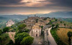 Download wallpapers Arpino, Lazio, Frosinone, italian old town, basilica, evening, sunset, Italy