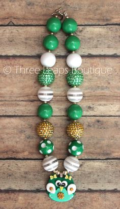 St. Patrick's Day Owl Chunky Bead Necklace