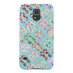 Flip Flops Girly Trendy Abstract Pattern On Teal Galaxy S5 Cases