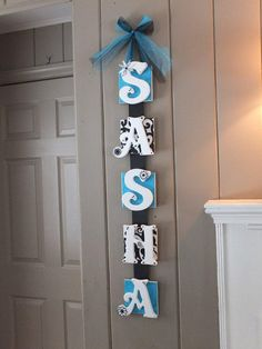 Name Plaque 7 Letter Baby Name Wall Hanging by FaeriePoppins