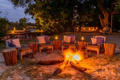Tongabezi Lodge is a luxury safari lodge near Victoria Falls. This award winning lodge is a romantic hideaway on the banks of the Zambezi River in Zambia. Glamping, Game Lodge, Private Games, Victoria Falls, Felder, Outdoor Furniture Sets, Outdoor Decor, Island Resort, Best Vacations