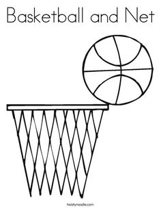 Basketball and Net Coloring Page  make a quiet book page out of this somehow?