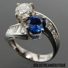 14k White Gold 1.20 Tcw Sapphire & 1.58 Tcw Diamonds Bypass Design Rin – Gold Stream Boutique