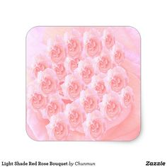 Light Shade Red Rose Bouquet Square Sticker