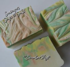 CUCUMBER & MINT This pretty Vegan friendly, swirl topped, soap has a light fragrance of Cucumber and Mint in a hand-sized soap bar. So Pretty! $5.55