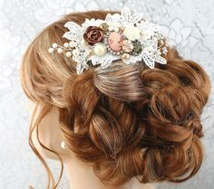 Bridal Hair Comb Wedding Hair Comb Lace by goddessdesignsgems Bridal Comb, Hair Comb Wedding, Wedding Hair Pieces, Bridal Hair Accessories, Wedding Jewelry, Lace Hair, Wedding Hairstyles, Crystal, Pearl