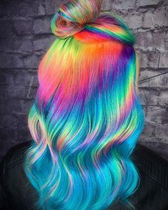 Cute Hair Colors, Pretty Hair Color, Beautiful Hair Color, Hair Dye Colors, Neon Hair, Purple Hair, Party Hairstyles, Cool Hairstyles, Wedding Hairstyles
