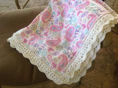 Paisley Nursery Blanket, Baby Girl, Crocheted Blanket, Pink Blanket by Lorettescottage on Etsy