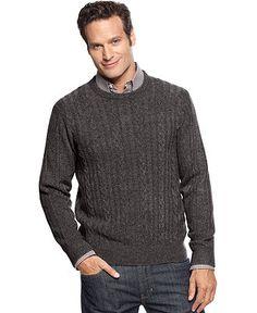 Geoffrey Beene Sweater, French Braid Crew Neck Sweater - Mens Sweaters - Macy's