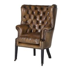 Italian Leather Olive Wing Chair is an eye catching, incredible leather chair, that will be an astonishing feature in your home. Brown Leather Armchair, Vintage Leather Sofa, Leather Wingback Chair, Upholstered Swivel Chairs, Leather Club Chairs, Chair Cushions, Leather Sofas, Shabby Chic Table And Chairs, Vintage Chairs