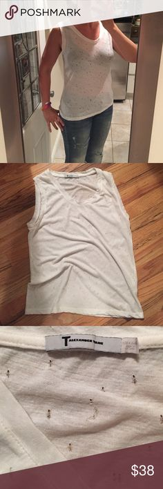 T by Alexander wang muscle tank Gauzy see-through white cotton. No stains. T by Alexander Wang Tops Muscle Tees