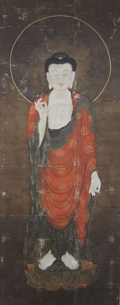 Korean Antique Painting of Amida Buddha, 19th C. The meaning of this mudra is that wisdom (symbolized by the raised hand) is accessible to even the lowest beings, while the outstretched hand shows the great compassion for the lowest beings who cannot save themselves.