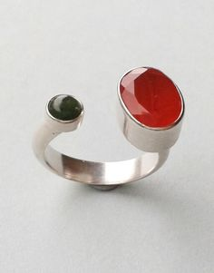 Double gem silver ring.  Green Moss agate and Carnelian.  Handmade by Reshma Tia Champaneria jewellery