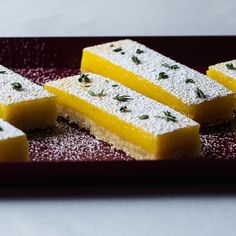 Lemon-Thyme Bars:  Fresh thyme is incorporated into a tart lemon curd for these bright and fragrant lemon bars.