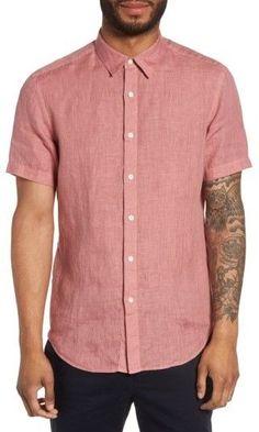 Theory Men's Clark Trim Fit Linen Sport Shirt