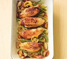 Pan-Roasted Chicken With Lemon-Garlic Green Beans a strong 9. Easy, delicious, it just takes a while to cook but it was so worth it!