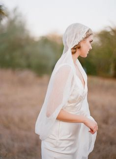 Cotton gauze veil with lace embroidered edges - Style #306