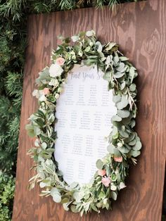 Wreath Seating Chart: A wreath doesn't just have to look pretty, it can also have a function. For a fall wedding, use a wreath to decorate your seating chart - as shown with this greenery wreath for an outdoor wedding reception. Wedding Reception Seating, Seating Chart Wedding, Wedding Signage, Reception Decorations, Wedding Centerpieces, Decor Wedding, Wedding Ideas, Wedding Props, Wedding Planning