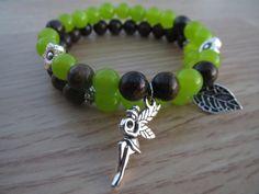 Deep Forest Elves Charm Bracelet, Peridot Bronzite Gemstone Bracelet, Set of two Stone Bracelet, Nature Themed Bracelets