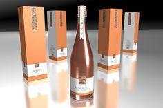 Champagne packaging design for Bench 1775 Brut Rose Label Design, Packaging Design, Vancouver, Behance Net, Media Design, Barcelona, Bench, Wine, Bottle