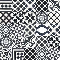 Zementfliesen Patchwork schwarz, weiß