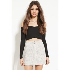 Forever 21 Women's  V-Cut Off-the-Shoulder Crop Top ($23) ❤ liked on Polyvore featuring tops, forever 21, crop top, off shoulder long sleeve top, off shoulder tops and long sleeve tops