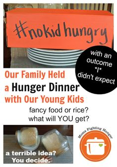 "My friend wrote this post ""Teach Kids About Hunger Through a Hunger Dinner"" She divided the table into how the world eats, One group gets a fancy dinner, the other rice meal at the table, a third group rice meal on the floor. Great article reflecting the emotions and vulnerability of this exercise. She wrote this In support of No Child Hungry month,"