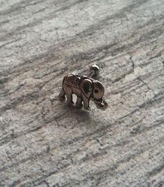 Cartilage ring, Silver Tiny Elephant with surgical steel Barbell 16G, Helix ring, Ear lob, Tragus Ring on Etsy, $9.25