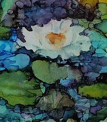 Alcohol Ink Art - Waterlily by Carolyn Opderbeck