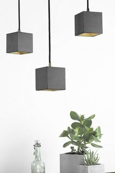 This one of a kind Concrete Cubic Pendant Light by German label GANTlights combines dark grey concrete with silver, gold or copper, resulting in a timeless and elegant designer lamp. Concrete Light, Concrete Lamp, Concrete Design, Diy Pendant Light, Pendant Lighting, Pendant Lamps, Ceiling Rose, Ceiling Lights, Copper Interior
