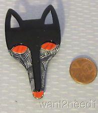 vtg LEA STEIN PARIS FOX HEAD FACE PIN black silver tweed FAB RED EYES