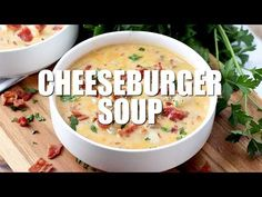 Cheeseburger soup is the ultimate comfort soup. Chock full of seasoned ground beef, potatoes, onions, cheese all in a creamy soup! Easy Soup Recipes, Casserole Recipes, Cooking Recipes, Water Recipes, Chicken Casserole, Primal Blueprint Recipes, Cheeseburger Soup, Ground Beef Recipes, Hamburger Recipes