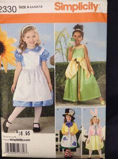Simplicity 2330 Alice Wonderland Frog Princess Oz Dorothy Costume Pattern Sz 3-8 #Simplicity