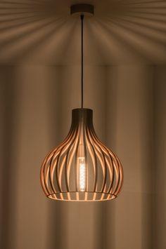 The Lights Company 100 houten hanglamp, Stair Lighting, Lighting Design, Wood Pendant Light, Pendant Lighting, Light Fittings, Light Fixtures, Lampe Art Deco, Ikea Lamp, Lamp Makeover
