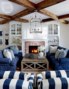 Coastal Room with Leather Sofas