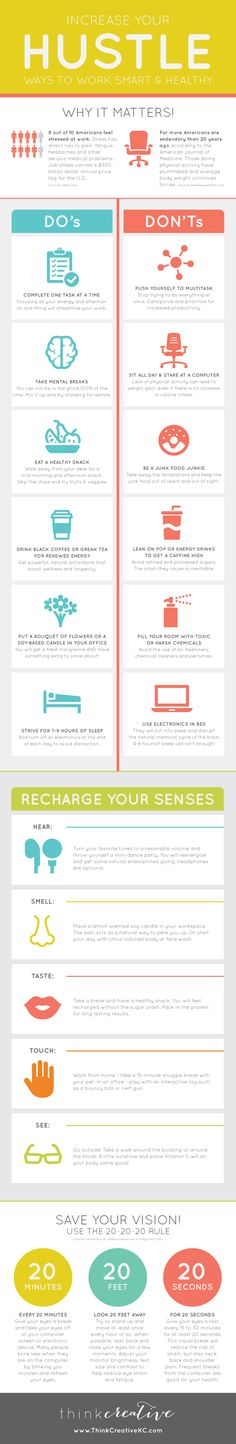 Increase Your Hustle with Ways to Work Smart & Healthy  |  Think Creative Infographic
